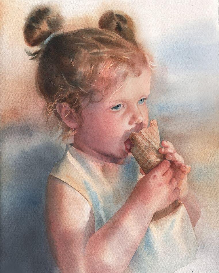 watercolor painting child icecream besedina anastasia