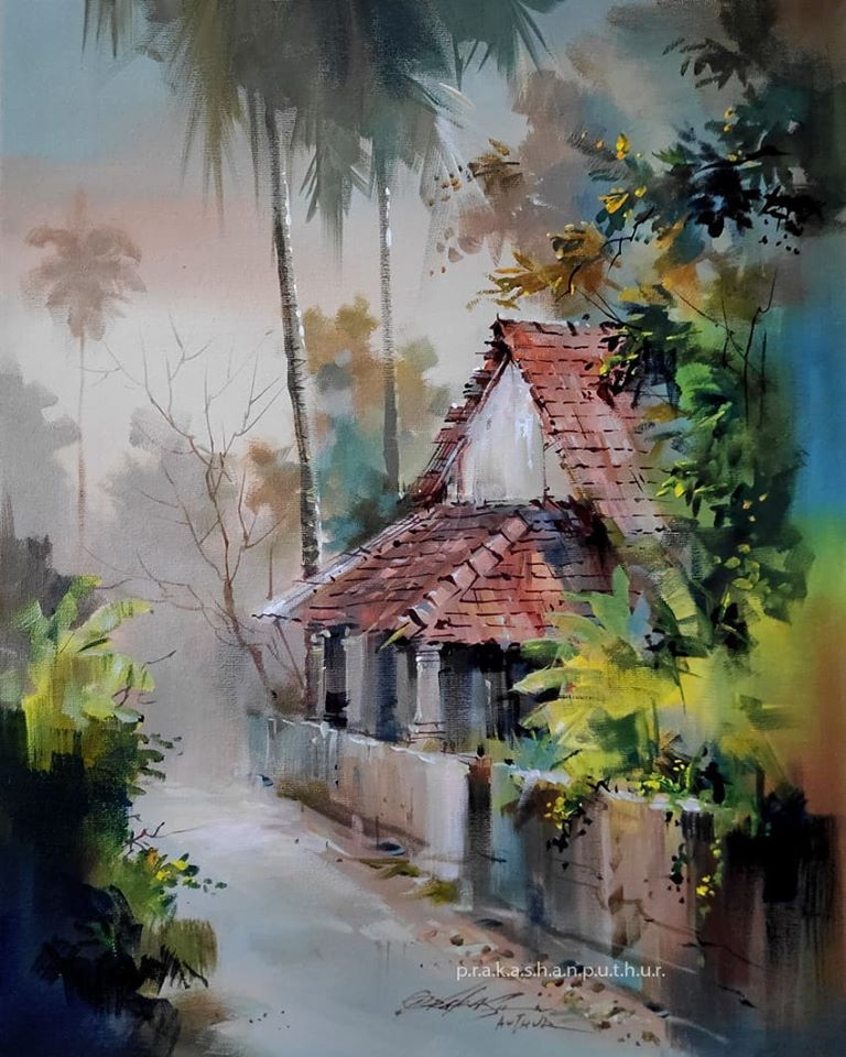 4 watercolor painting village house prakashan puthur