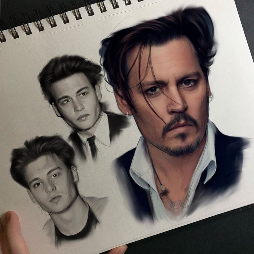 digital painting johnny depp ylanast