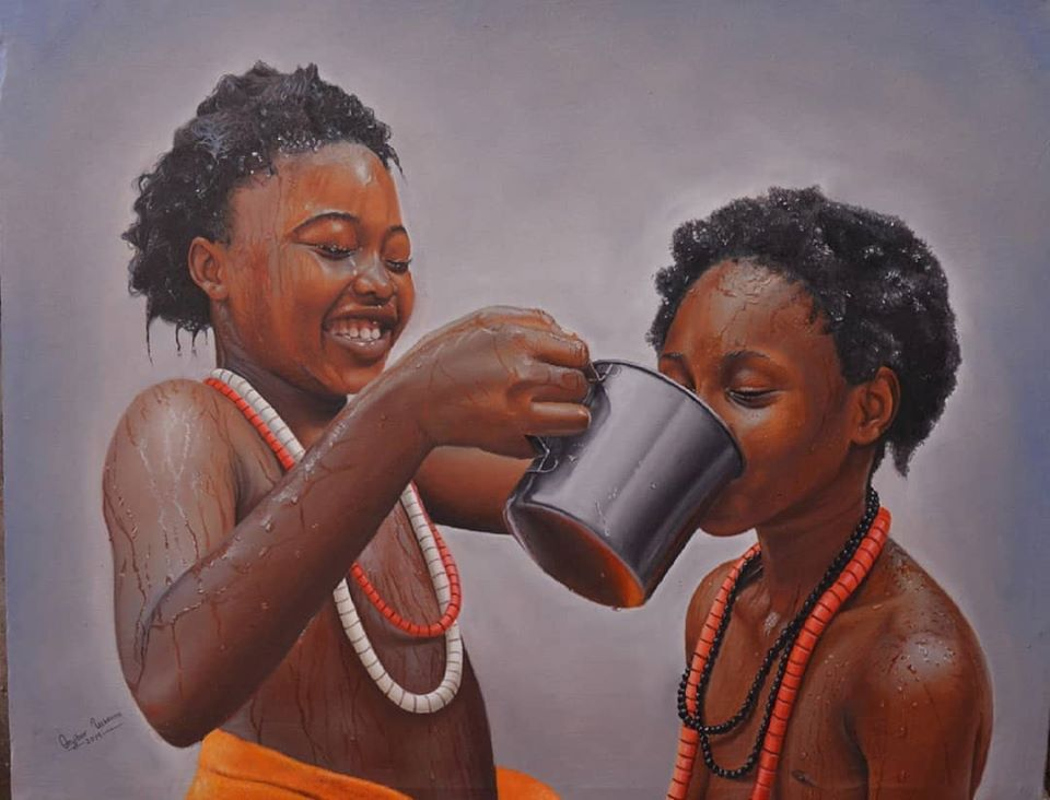 painting portrait happiness collins uchenna onyibor