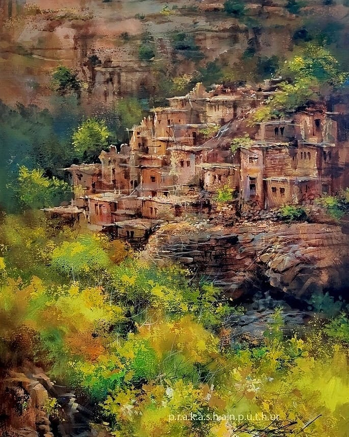 watercolor painting mountain house prakashan puthur