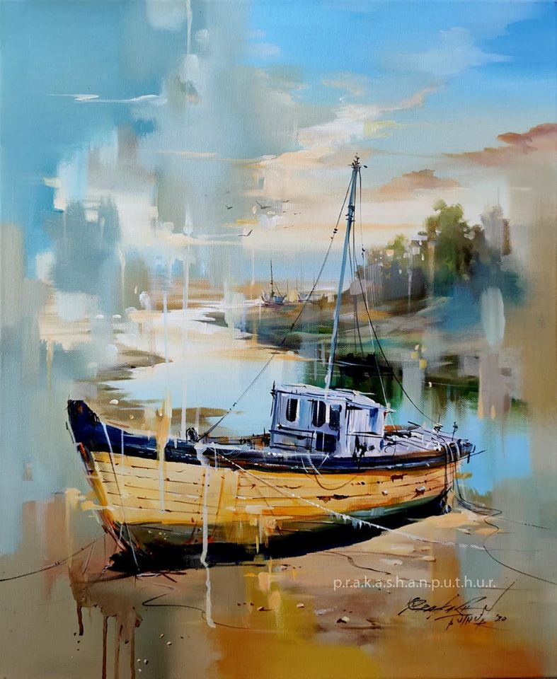watercolor painting docked prakashan puthur