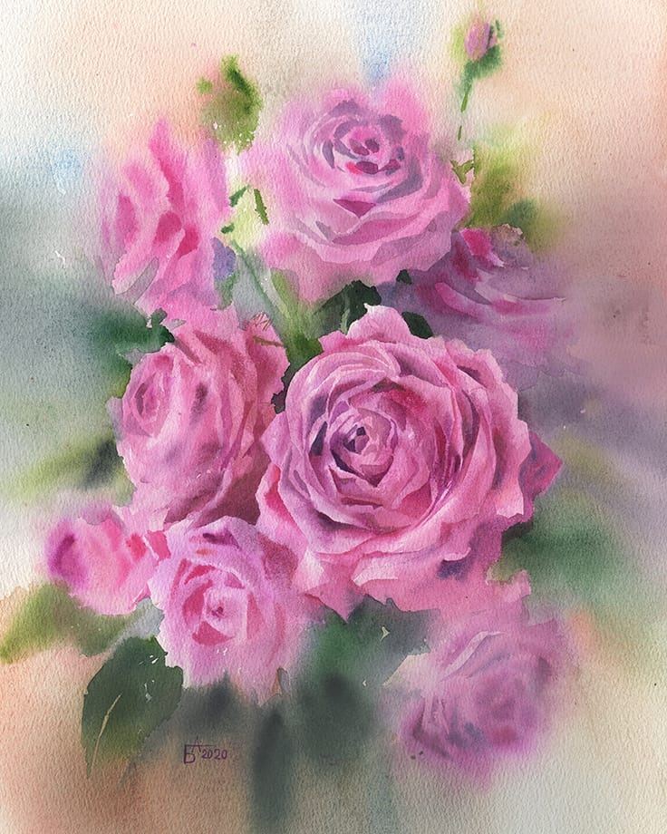 watercolor painting roses besedina anastasia