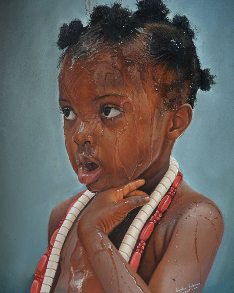 painting portrait look girl collins uchenna onyibor