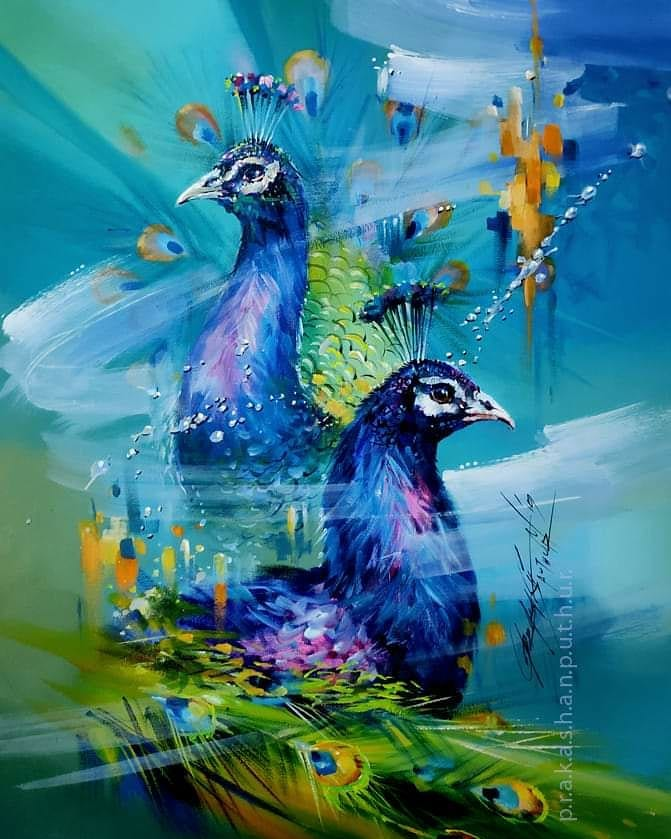 watercolor painting peacock prakashan puthur