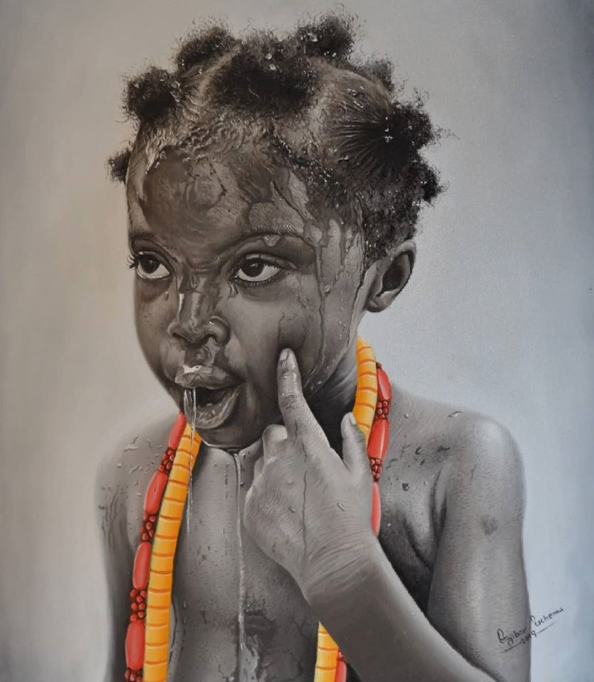 painting portrait playful girl collins uchenna onyibor