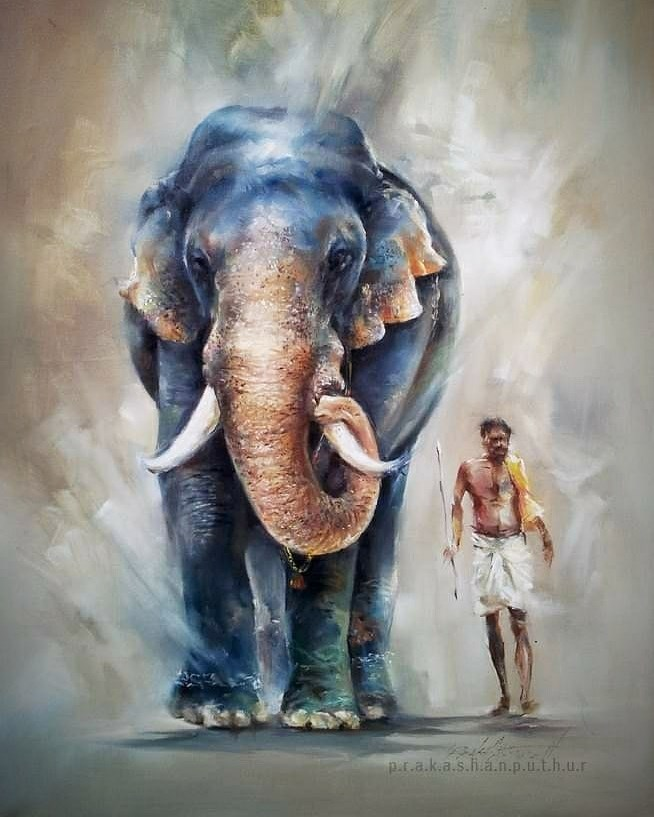 watercolor painting elephant prakashan puthur