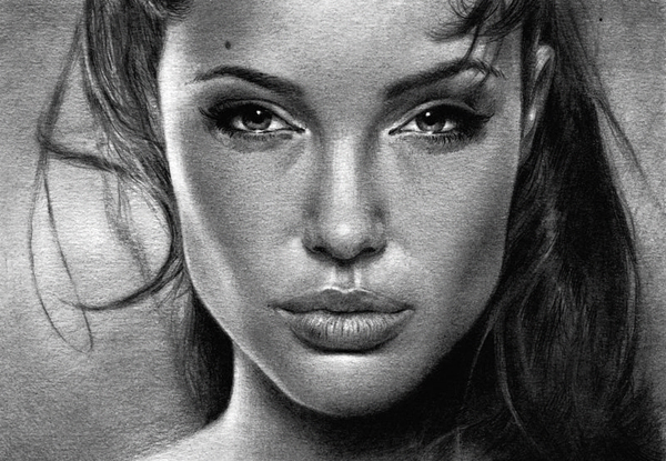 1 graphite drawing angelina jolie by nick tortillon
