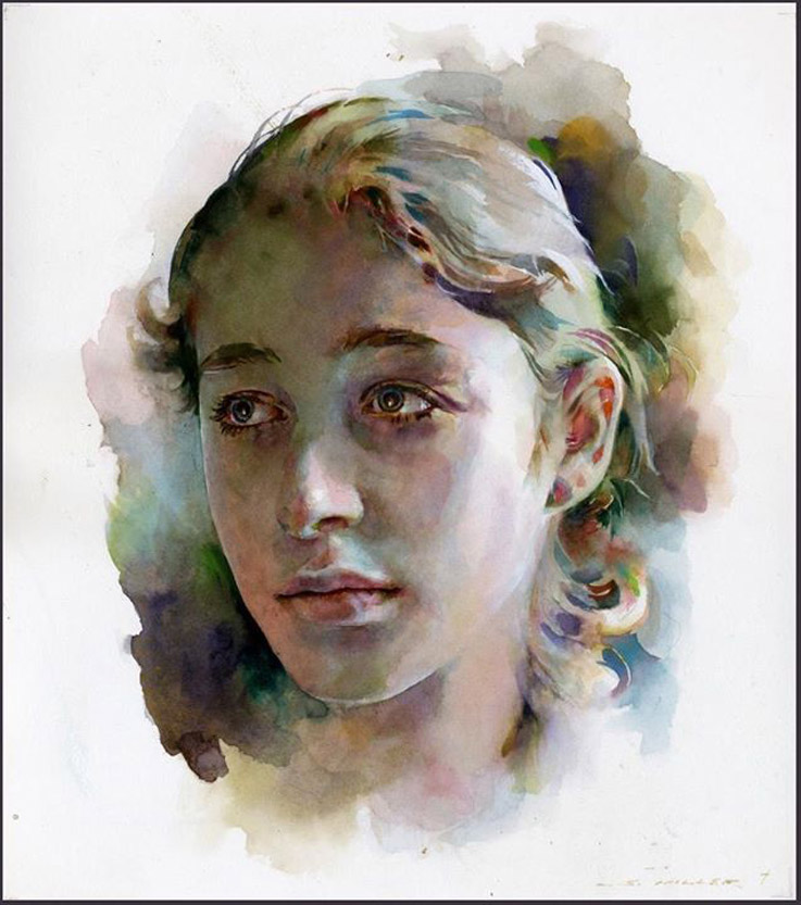 watercolor painting portrait woman by stan miller
