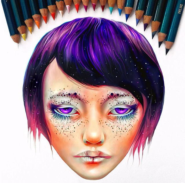 colorful painting girl face by nicky barkla