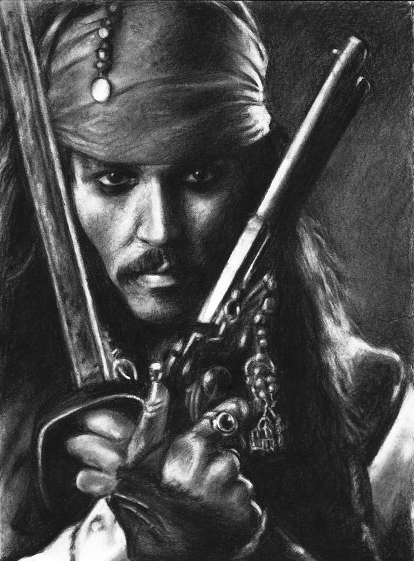 graphite drawing captain jack sparrow by nick tortillon