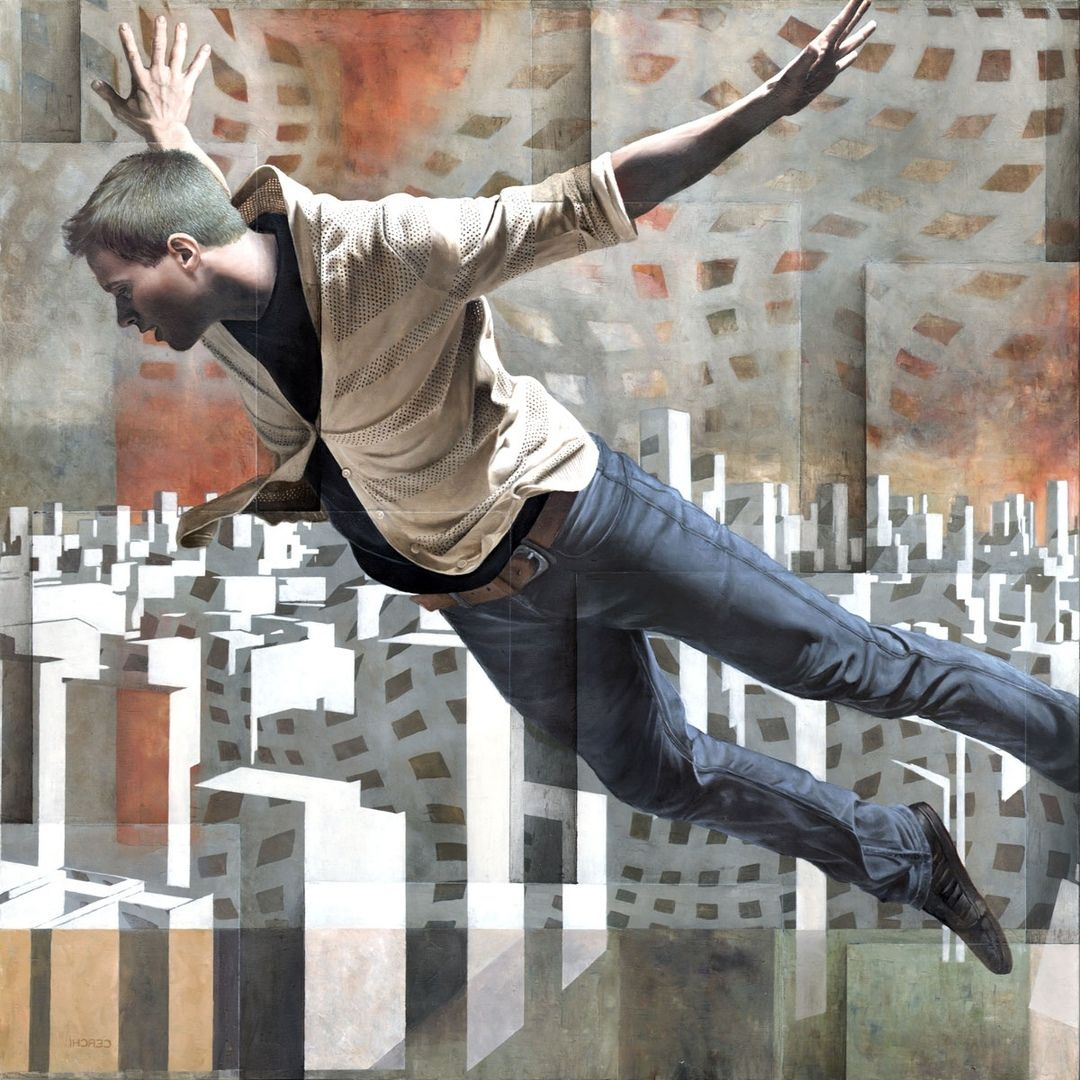 surreal oil painting flying man by sergio cerchi