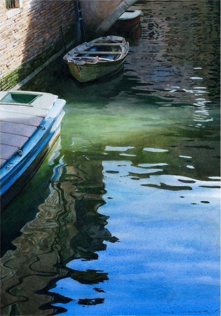 watercolor painting boat by stan miller