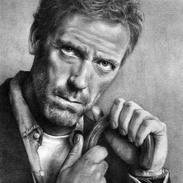 portrait graphite drawing hugh laurie by nick tortillon
