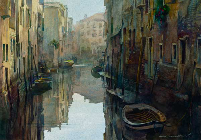 watercolor painting floating city by stan miller