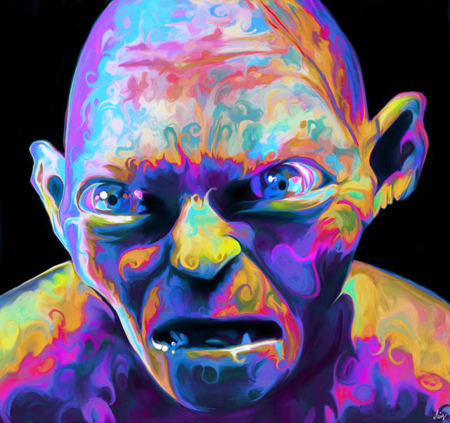 colorful painting goblin by nicky barkla