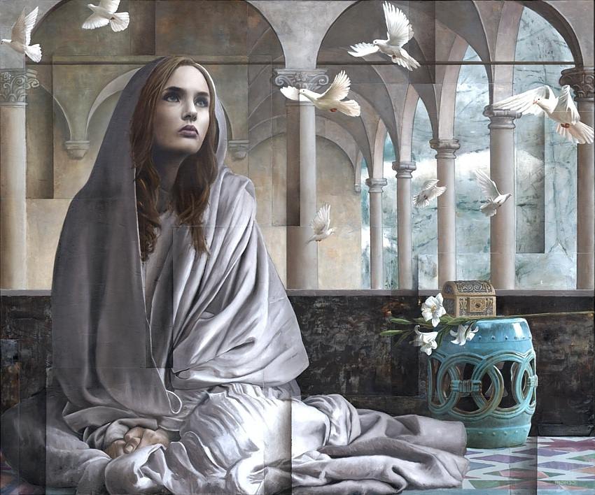 surreal oil painting woman by sergio cerchi