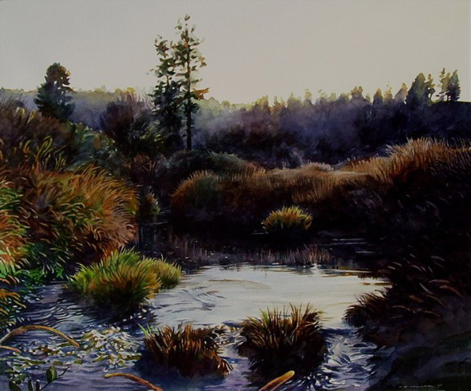 watercolor painting valley by stan miller