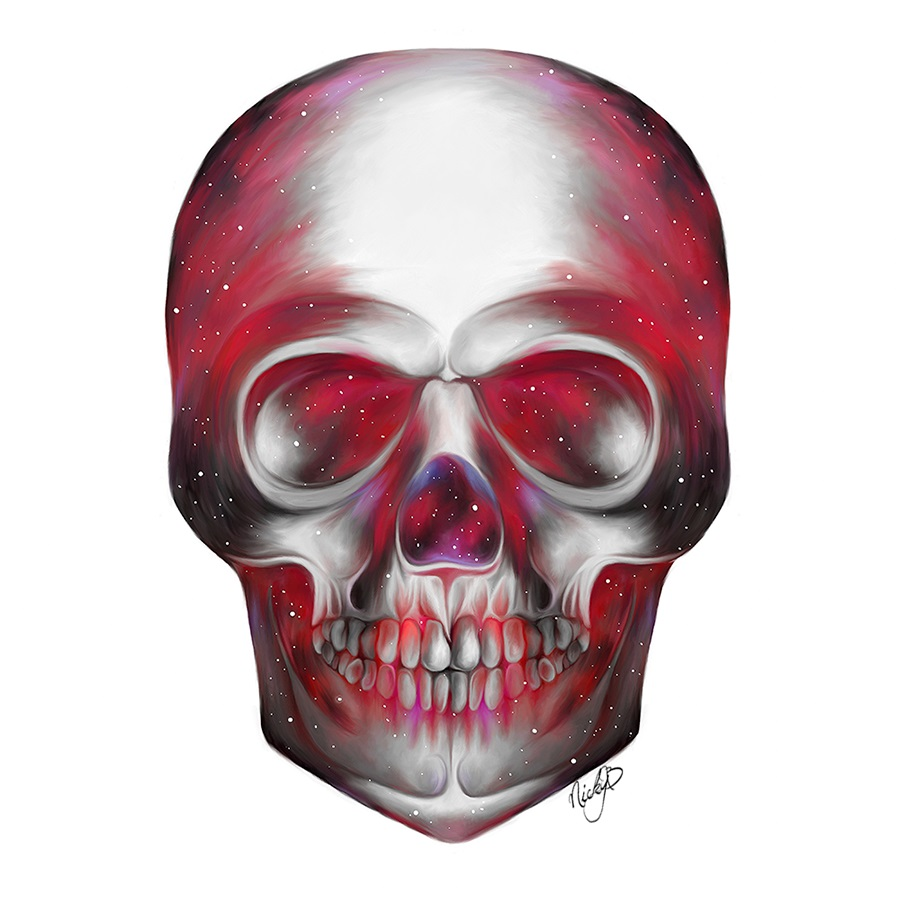 colorful painting skull by nicky barkla