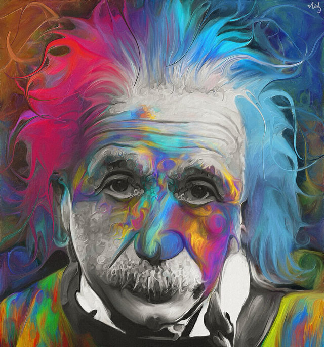 colorful painting einstein by nicky barkla