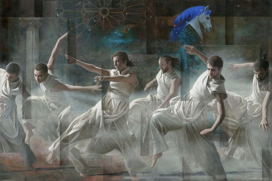 surreal oil painting men by sergio cerchi