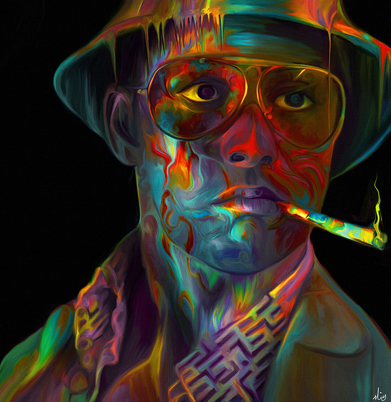 colorful painting man by nicky barkla