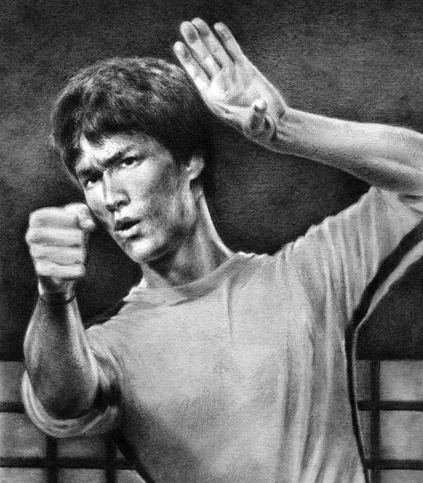 graphite drawing bruce lee by nick tortillon