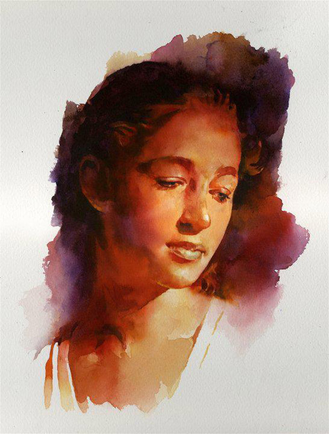 portrait watercolor painting woman by stan miller