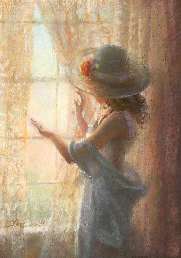 pastel painting girl by kathy fincher
