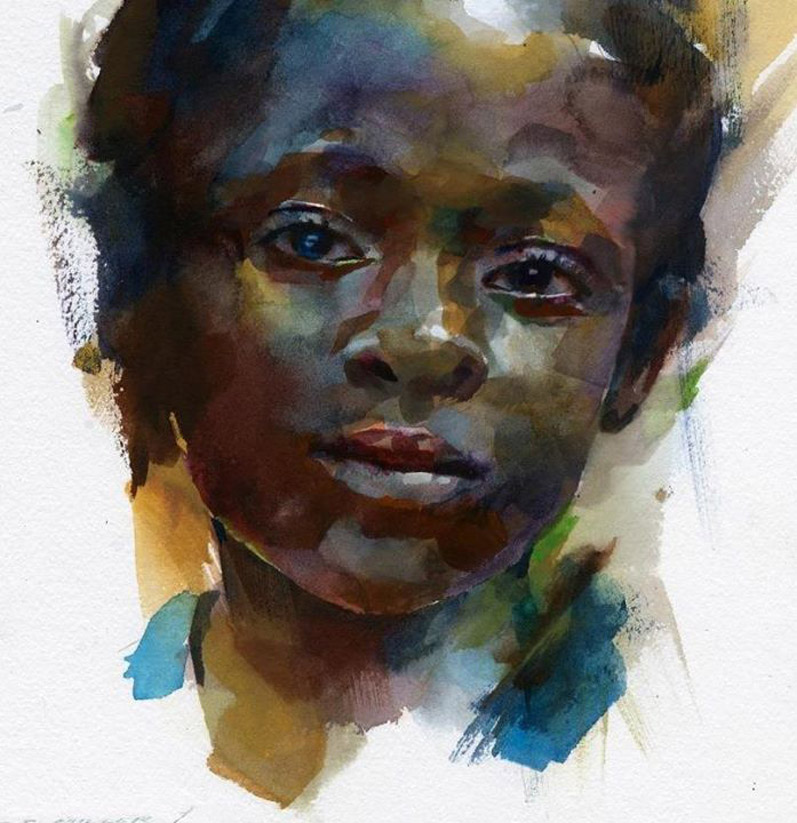 portrait watercolor painting boy by stan miller