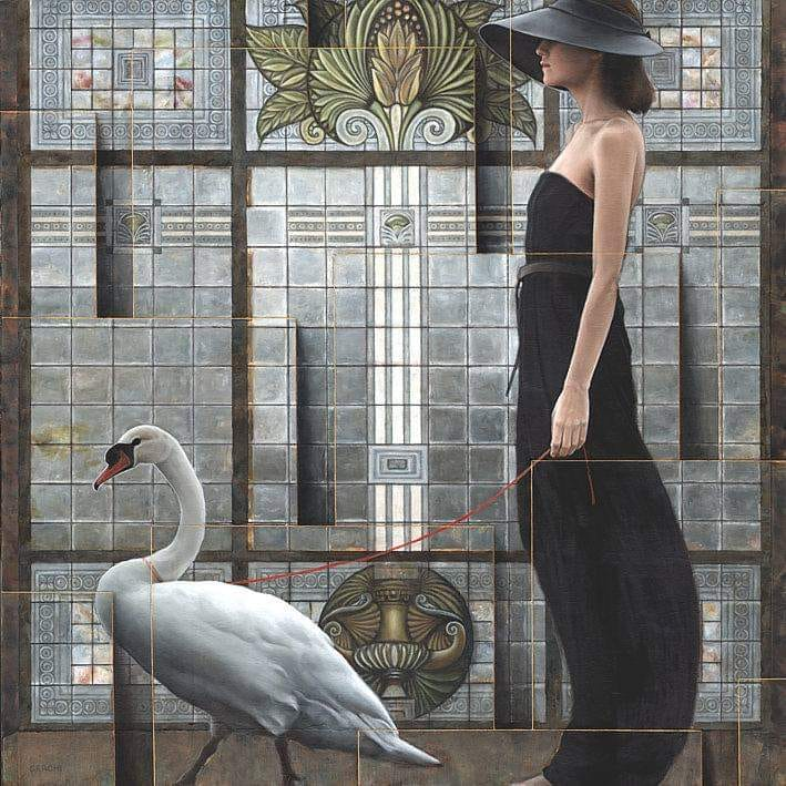 4 surreal oil painting leda by sergio cerchi
