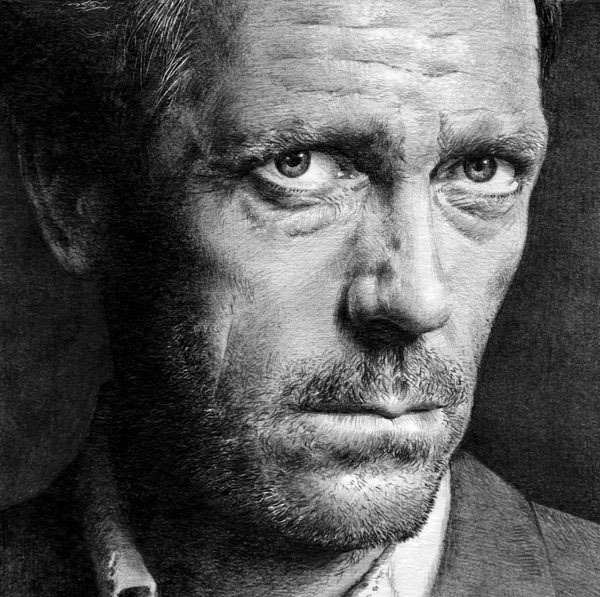 graphite drawing actor hugh lurie by nick tortillon