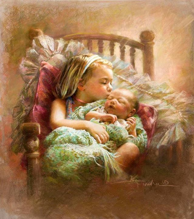 pastel painting sister baby by kathy fincher