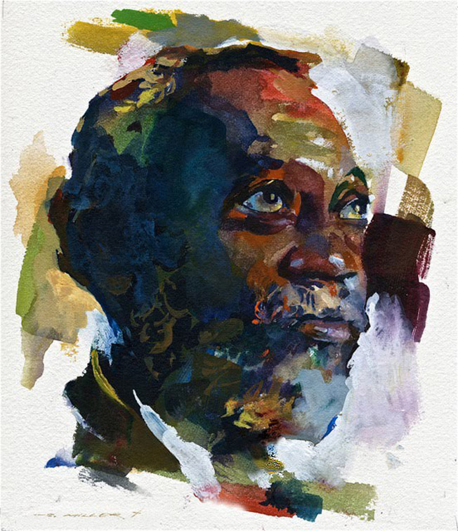 portrait watercolor painting man by stan miller