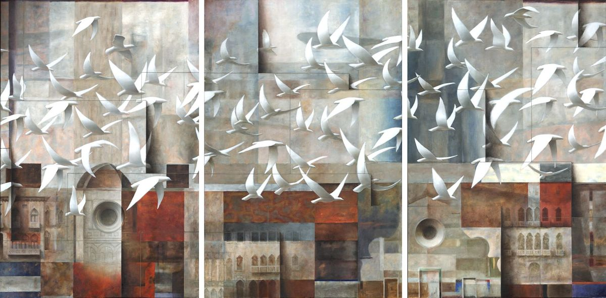 surreal oil painting bird by sergio cerchi