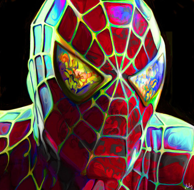 colorful painting spiderman by nicky barkla