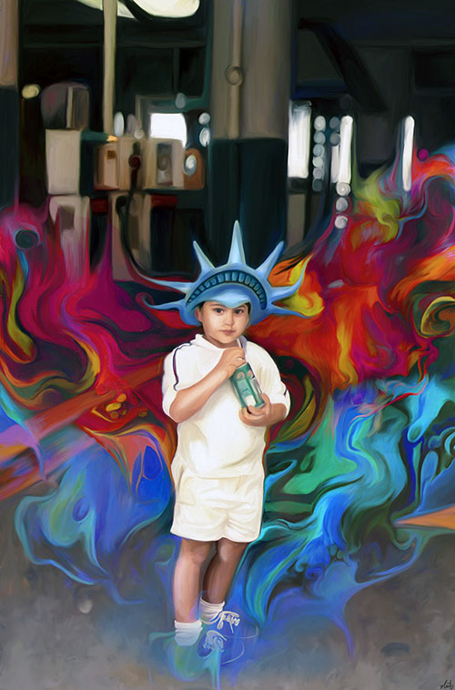colorful painting little boy by nicky barkla