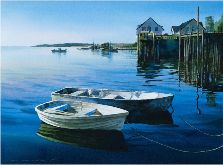 watercolor painting boats by stan miller