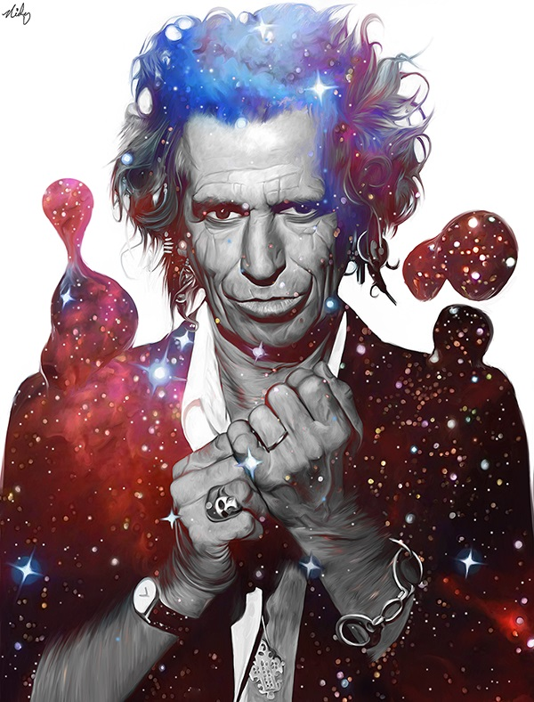 colorful painting keith richards by nicky barkla