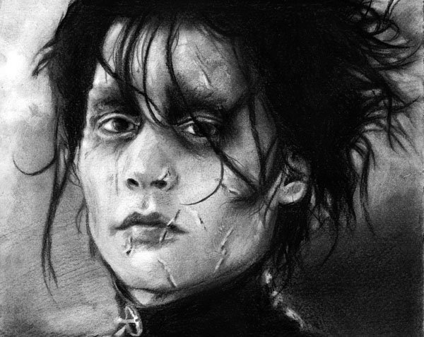 graphite drawing johnny depp by nick tortillon