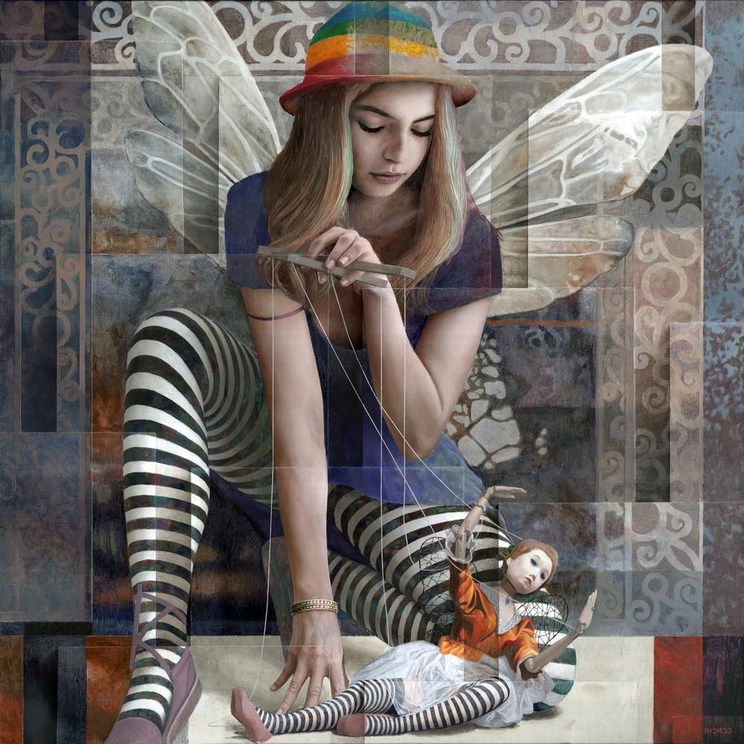 surreal oil painting girl by sergio cerchi