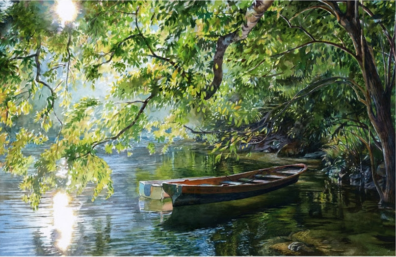 8 watercolor painting boat by stan miller