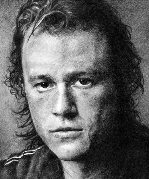 graphite drawing heath ledger by nick tortillon