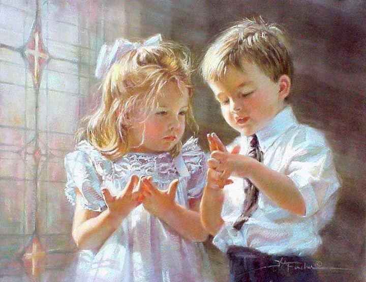 pastel painting cute girl boy by kathy fincher
