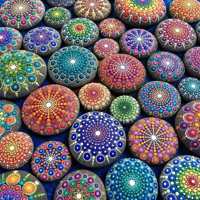 19 painted stones by elspeth mclean
