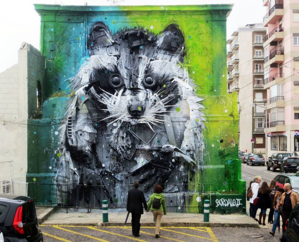 bear street art by bordalo