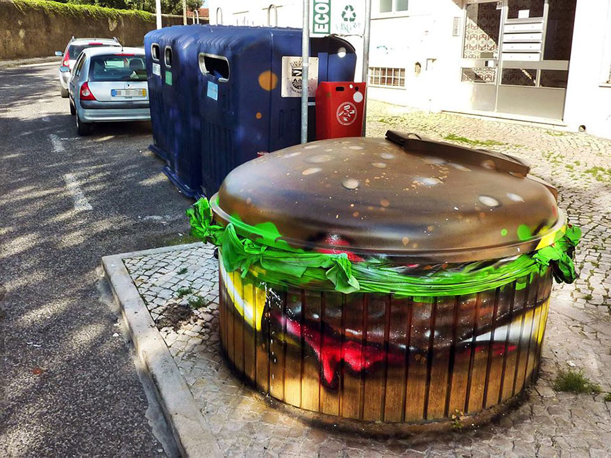 burger street art by bordalo