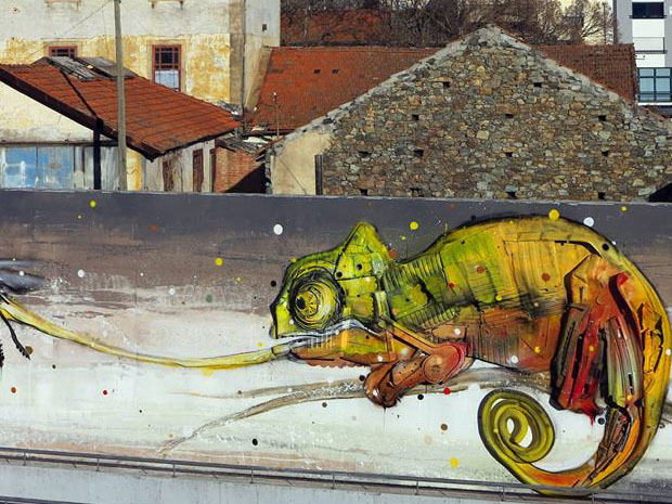 chamelon street art by bordalo