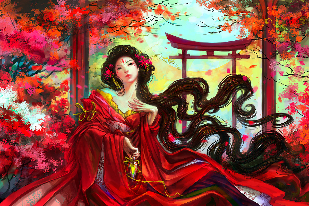 fantasy digital art red lady anndr kusuriuri