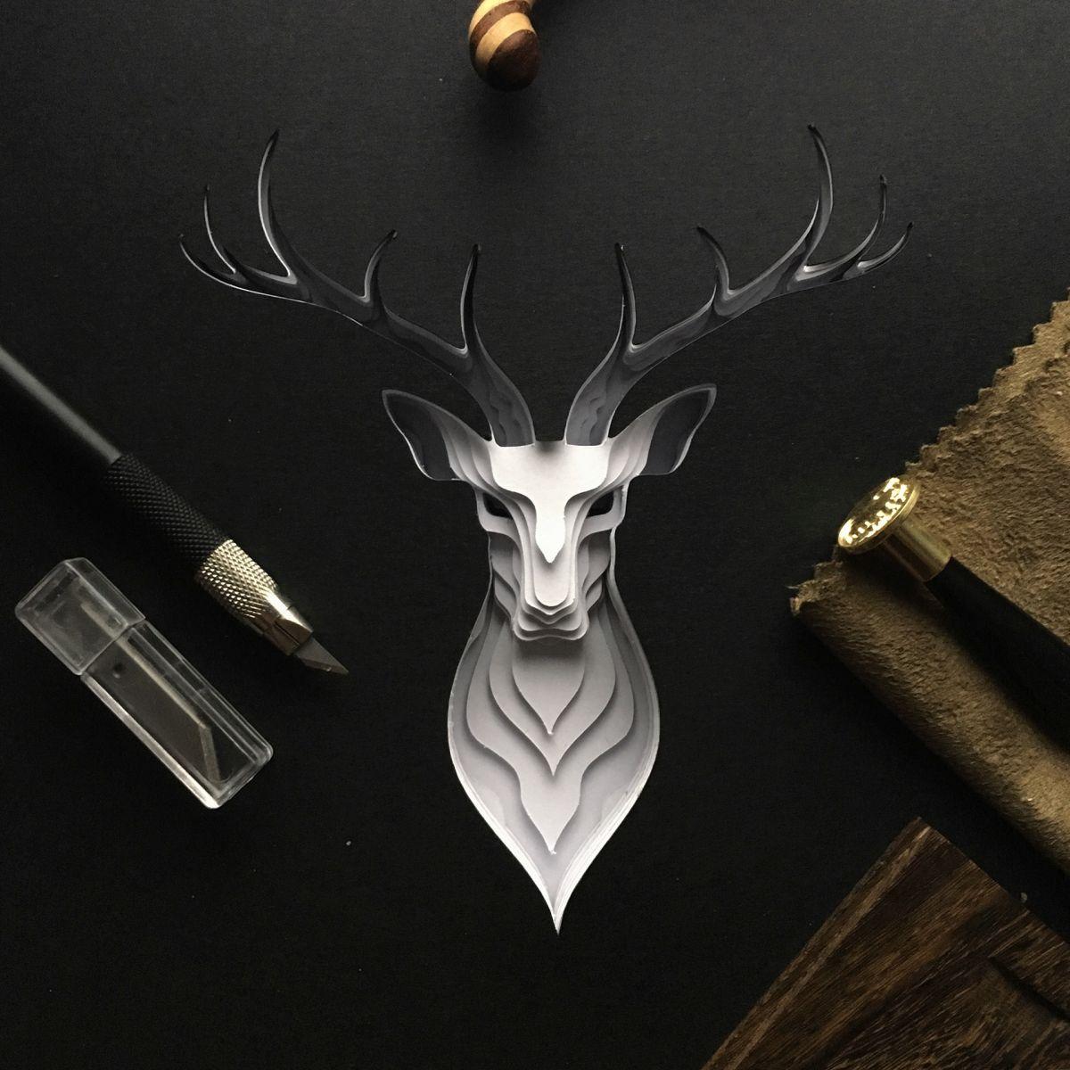 paper sculpture art deer patrick cabral